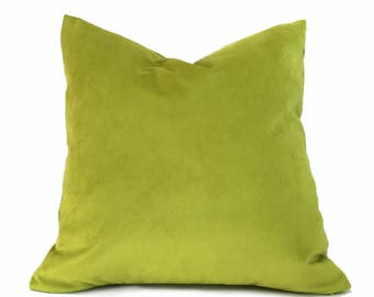 "Bright Lime Green Velvet Pillow Cover, Fits 12x18 12x24 14x20 16x26 16"" 18"" 20"" 22"" 24"" Cushion Inserts"