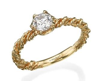 Diamond Ring, Diamond Engagement Ring, Engagement Ring, Engagement Band, 14k Ring , Yellow Gold Ring , 0.50CT Diamond Ring , Solitaire Ring