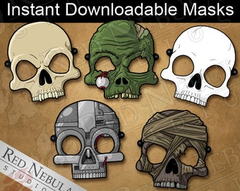 Skull Monster Masks, Instant Download, Printable Horror Masks, Zombie Mask, Paper Mask, Vampire Skull, Cyborg Mask, Mummy, Coloring Mask
