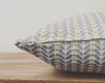 Yellow Cushion- Linen Cushion- Linen Pillow- Scandinavian Modern- Scandinavian Cushion- Retro Cushion- Yellow Grey- Heiki- Cushion Cover