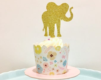 12ct Glitter Elephant cupcake topper, Zoo cupcake topper, Animal cupcake topper, Safari cupcake toppers