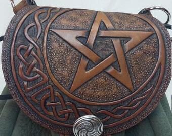 Celtic pentacle crescent sporran