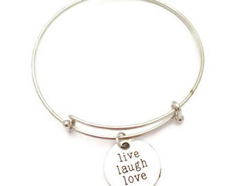 Silver Bangle Bracelet with Live Laugh Love Charm- Adjustable Bangle Bracelet- Charm Bracelet- Silver Charm Bracelet