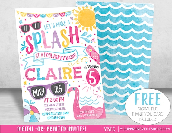 Pool Party Invitation, Pool Party Birthday Invite, Summer Pool