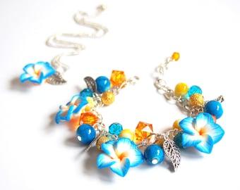 Blue Orange Flower Jewelry Set (bridal jewelry set summer jewelry floral jewelry silver jewelry wedding jewelry bridesmaid bracelet )