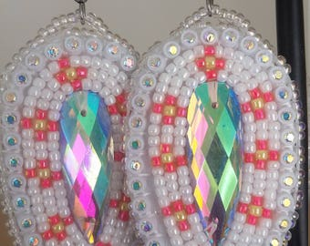 Beaded White Earrings