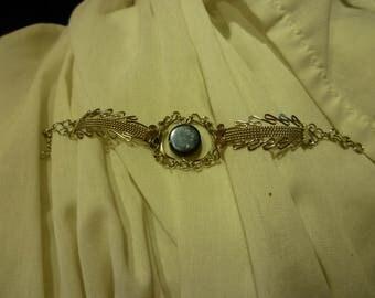 F4 Vintage Silver Tone Bracelet with a Black Center Piece.
