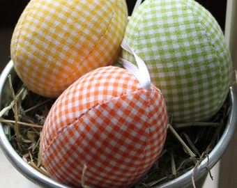 Eggs from fabric fabric eggs unbreakable Vichy red blue purple pink white orange Eisbaerchenmama Plaid stitched Easter eggs yellow green