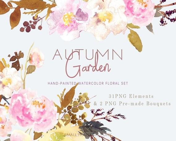 Digital Clipart- Watercolor Flower Clipart, peonies Clip art, Floral Bouquet Clipart- Autumn Garden Elements and 2 Bouquets
