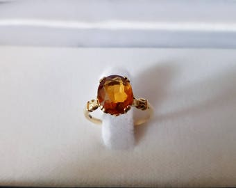 Beautiful antique 1940s citrine solitaire 14K yellow gold ring size 6