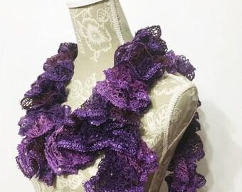 Violet Purple Crochet Scarf, Ruffle Scarf, Crochet Ruffle Scarf, Frilly Scarf, Sashay Scarf, Gifts for Her, Fashion Scarf, Ruffled Scarf