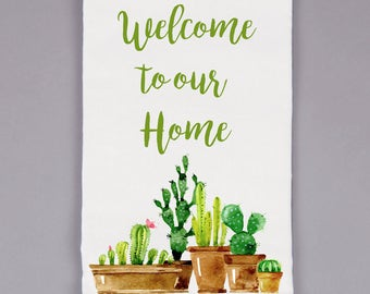 Natural Flour Sack Towel - Welcome to our Home
