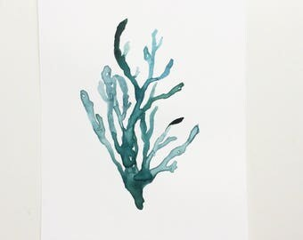 """Deep Blue-Green Ocean Seaweed Original Watercolor Painting [6"""" x 8""""]"""