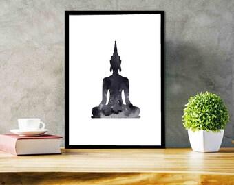 Buddha Print Buddha wall art Watercolor Yoga Poster Abstract Buddha Statue Meditation Wall Decor