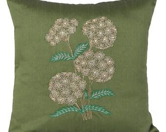 Beaded Hydrangea Flower Pillow Cover Moss Green Decorative Pillow Cover Hydrangea Accent Pillow 14x14 16x16 18x18 20x20