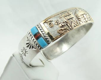 Signed Lightning Arrow Navajo Native American Storytelling Vintage Silver, Gold, Turquoise, Coral and Jet Inlay Cuff Bracelet  #ARROW-CF4