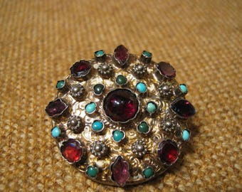 Remarkable Antique Early Victorian Silver Turquoise Garnet Amethyst Brooch 13.9 Grams.