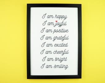 Happy Affirmations Print A5 A4 | Inspirational Positive Typography Print |Home Decor | Gift | Joy, Happiness, Adventure, Dance, Dream, Play