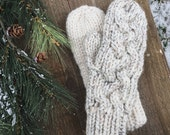 FLASH SALE* Braided Hand Knit Gloves Wool Cable Mittens // the TIMBERLINE