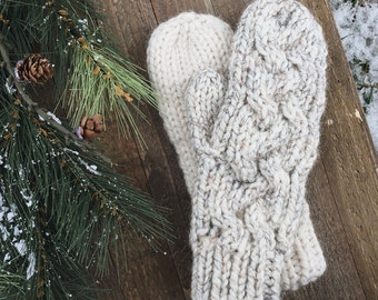 Braided Hand Knit Gloves Wool Cable Mittens // the TIMBERLINE