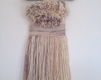 Woven Wall Hanging, Tapestry, tassel, Weaving, Cream, Neutral