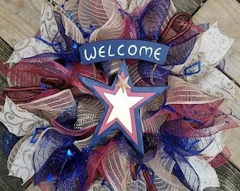 SALE July 4th Jute Mesh Wreath, July 4th Deco Mesh Wreath, Patriotic Wreath, Country Patriotic Wreath, Rustic Patriotic Wreath,