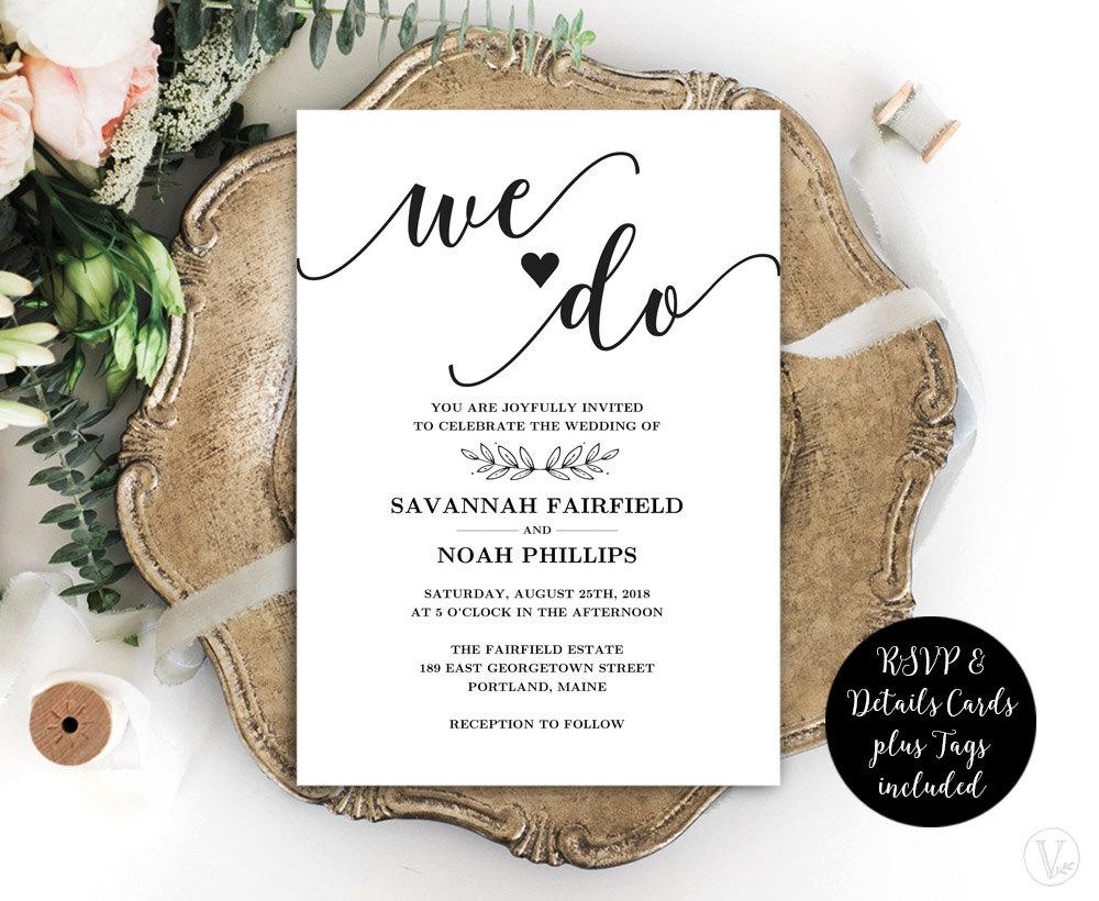 Calligraphy Wedding Invitations: Modern Calligraphy Wedding Invitation Printable Wedding