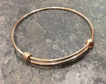 Rose Gold STAINLESS STEEL bangles adjustable wire bangle bracelet blanks with Rose Gold finish sold per piece Beautiful Quality 2 1/2""
