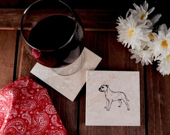 Set of 4 Pitbull American Staffordshire Terrier Travertine  Stone Coasters