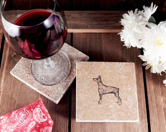 Set of 4 Doberman Pinscher Travertine Stone Coasters
