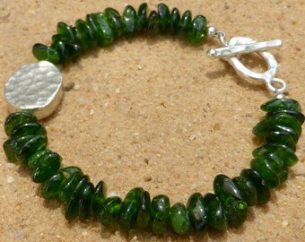 Chrome Diopside Bracelet Emerald Green Gemstone Jewellery Sterling Silver Hill Tribe Boho Artisan Designer Toggle Clasp Stacking Minimalist