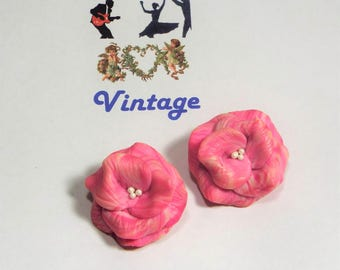 Pink & White Vintage Flower Earrings with Clip Backs