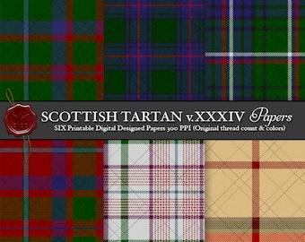 Digital Printable Scottish Tartan Plaid: Highland Clan Shaw Tordarroch Green Hunting, Tordarroch Red Dress, Jones Afghan Memorial, Carolina