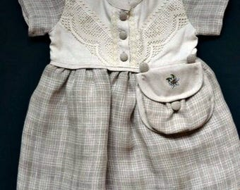 Checked baby girls dress with lace, toddlers dress:  toddler  girl summer maxi dress from linen