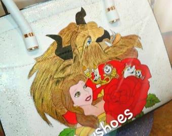 Handpainted bag beauty and the beast bag ladies bags