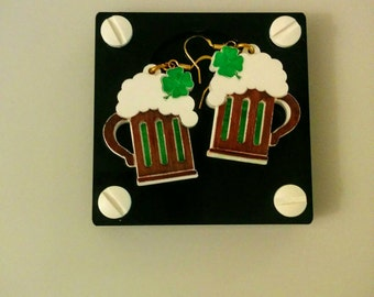 Beer Earrings, Laser Cut Acrylic Earrings, St Patricks Earrings, St Patricks Jewelry, St Patricks Day Jewelry, St Patricks Day Earrings