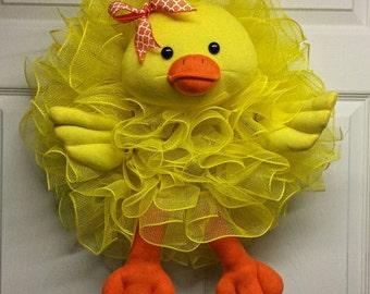 Easter Duck Wreath, Easter Duck, Yellow Duck Wreath, Spring Wreath,Yellow Spring Wreath, Duck Mesh Wreath, Easter Wreath, Easter Mesh Wreath