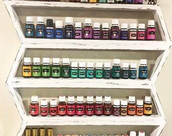 Essential oil shelf, nail polish rack, wood arrow decor, dorm room, oil rack, oil storage, chevron decor, hanging shelf, nail polish storage