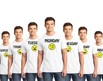 Weekday Emotions, Fun Shirt, Shirt, T-Shirts, Gift For Him, Gift For Her, Custom Shirt, Heat Transfer Vinyl