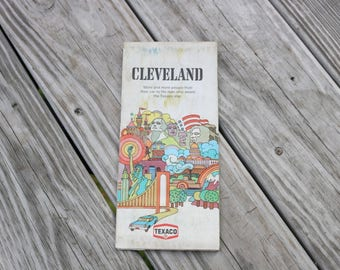Vintage Cl;eveland road map from 1972 Texaco