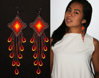 Dangling Native Earrings, Native American Beaded Earrings, Beaded Huichol Earrings, Eye of God Earrings, Seed Bead Earrings, Long Earrings