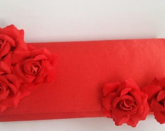 Red Bridal Clutch with Velvet Roses ~ Wedding Clutch, Bridesmaid Clutch ~ Bouquet Clutch- Evening Bag ~ Mother of the Bride, Prom