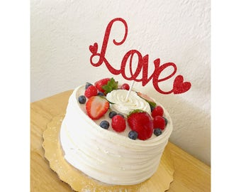 Love  Cake Topper, Valentine's Day Cake topper, Happy Valentine's Day, heart cake topper, my valentine, valentines day topper- 1 cake topper