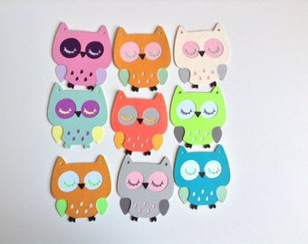 """Owls, 2.5"""" owls, die cut owls, colorful owls, owls to decorate, cupcake owls"""