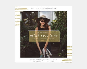 Modern Gold Stripes Mini Sessions Photoshop Marketing Template for Photographers -Marketing Board - Social Media Template - 5x5 Flyer