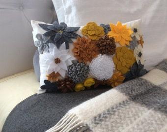 Felt Floral Lumbar Pillow Cover, Bedding Accent Pillow,Gray Pillow, Bedroom Decor, Home Decor, Wedding Gift, Flower Pillow,3D Felt Pillow