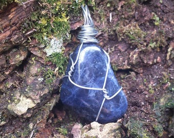Sodalite Wire-Wrapped Pendant