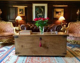 Fabulous Antique Blanket Box Chest Trunk Coffer Pine Victorian 19th Century