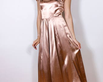 1940s Champagne Satin Dress