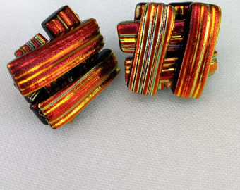 Red-Dichroic Glass Stud Earrings-925 Silver